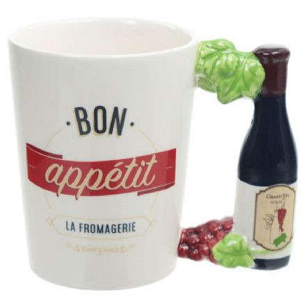 Bon Appétit La Fromagerie Wine Bottle Handle Shaped Mug